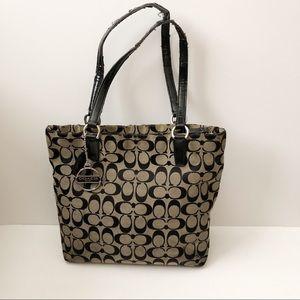 Coach signature print tote bag purse fabric